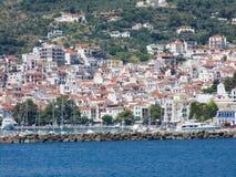 De stad van Skopelos stock foto's