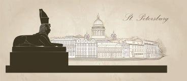 De stad van St. Petersburg, Rusland De kathedraal van heilige Isaac ` s, Sfinxmonument Horizonmening Stock Fotografie