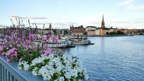 De stad van Stockholm bij de zomer stock video