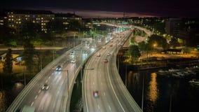 De stad van Stockholm bij nacht stock footage