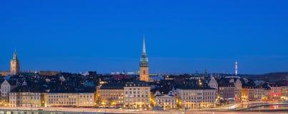 De stad van Stockholm 's nachts, Zweden Royalty-vrije Stock Afbeelding