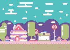 De stad van suikergoedsnoepjes stock afbeeldingen