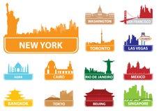 De stad van symbolen Stock Afbeelding