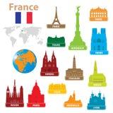 De stad van symbolen aan Frankrijk stock illustratie
