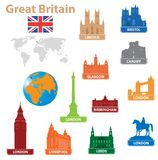 De stad van symbolen aan Groot-Brittannië vector illustratie