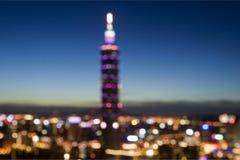 De Stad van Taipeh bij nacht Stock Afbeelding