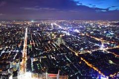 De stad van Taipeh bij nacht Royalty-vrije Stock Foto
