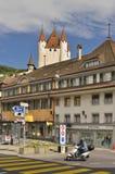 De stad van Thun met Thun-Kasteel, Zwitserland Royalty-vrije Stock Foto's