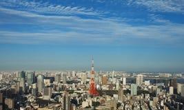 De stad van Tokyo en de toren van Tokyo Stock Afbeeldingen