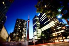 De Stad van Toronto van de nachtfoto Stock Afbeelding