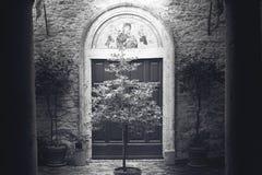 De stad van Toscanië in zwart-wit Stock Afbeelding