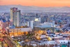 De Stad van Toyama, horizon de van de binnenstad van Japan stock fotografie