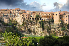 De stad van Tropea in Calabrië, Italië royalty-vrije stock foto's