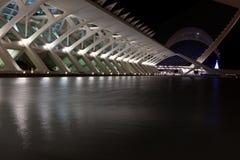 De Stad van Valencia van de nachtschot van Kunsten en van Wetenschappen Royalty-vrije Stock Fotografie