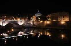 De Stad van Vatikaan bij Nacht Stock Foto