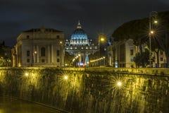 De Stad van Vatikaan bij nacht Royalty-vrije Stock Fotografie