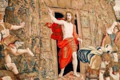 DE STAD VAN VATIKAAN, VATIKAAN - JULI 1, 2017: Tapijtwerk in de heropleving van de Stadsjesus christus van Vatikaan royalty-vrije stock foto's