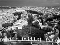 De stad van Vatikaan - panorama 3 B&W Royalty-vrije Stock Foto's