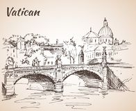 De stad van Vatikaan Schets met brug Italië Stock Foto