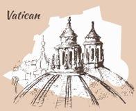 De stad van Vatikaan Schets met kaart Royalty-vrije Stock Fotografie