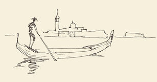 De stad van Venetië, Italië, wijnoogst gegraveerde illustratie Royalty-vrije Stock Afbeeldingen