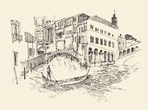 De stad van Venetië, Italië, wijnoogst gegraveerde illustratie Stock Afbeeldingen