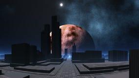De stad van vreemdelingen en het pulseren UFO stock illustratie