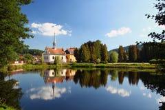 De stad van Vyssibrod, Tsjechische Republiek Royalty-vrije Stock Afbeeldingen