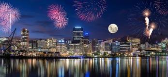 De stad van Wellington bij nacht Stock Foto's