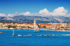 De stad van Zakynthos in de ochtend royalty-vrije stock afbeeldingen