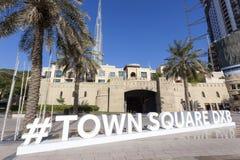 De Stad Vierkant Twitter Hashtag van Doubai Stock Foto's