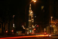 De Stad Wenen van de nacht Stock Fotografie