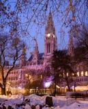 De stad-zaal van Wenen in de winter Stock Foto