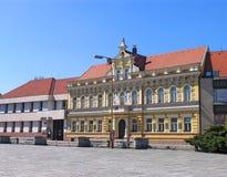 De stadhuisbouw in Milevsko, Tsjechische republiek royalty-vrije stock fotografie