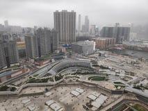 De stads bewolkte dag van Hongkong stock foto's