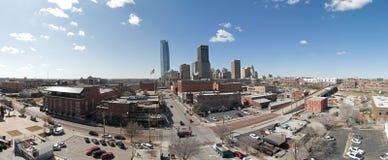 De stads bricktown van Oklahoma/de stad in panorama royalty-vrije stock afbeelding