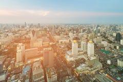 De stads centrale van bedrijfs Bangkok horizon van de binnenstad Stock Foto's