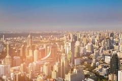 De stads centrale van bedrijfs Bangkok horizon van de binnenstad Royalty-vrije Stock Fotografie
