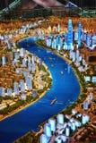De Stads Miniatuurmodel van Shanghai stock fotografie