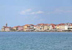 De stads mooi panorama van Europa Slovenië Piran Stock Afbeelding
