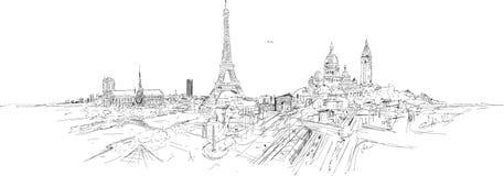 De stads panoramische schets van PARIJS Stock Illustratie