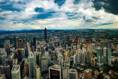 De stads scape mening van Kuala lampur vanaf bovenkant, Maleisië 2017 stock fotografie