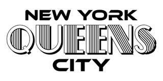De Stads Stedelijke Typografie van Queensnew york voor de Kledings Modern Ontwerp van de Serigrafiedruk stock illustratie
