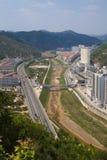 De stads yanan shanxi China van Ansai Stock Fotografie