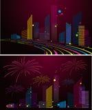 De stadsachtergrond van de nacht royalty-vrije illustratie