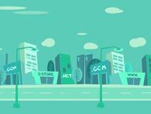 De stadsachtergrond van het beeldverhaal Stock Afbeelding