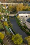 De Stadsbruggen van Luxemburg in Daling royalty-vrije stock afbeelding