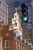 De stadscentrum van Boston, oud en nieuw Stock Foto's
