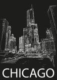 De stadscentrum van Chicago, Illinois, de V.S. De hand trekt schets Stock Foto's