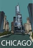 De stadscentrum van Chicago, Illinois, de V.S. De hand trekt schets Royalty-vrije Stock Foto